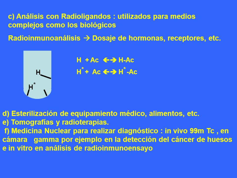 Radioinmunoanálisis  Dosaje de hormonas, receptores, etc.