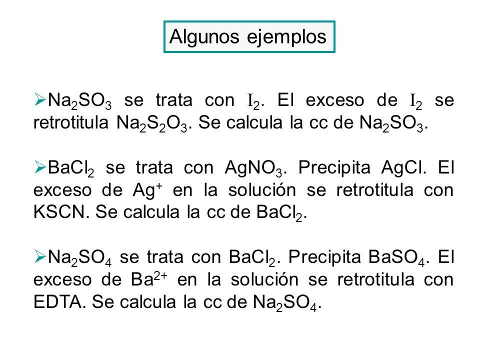 Algunos ejemplos Na2SO3 se trata con I2. El exceso de I2 se retrotitula Na2S2O3. Se calcula la cc de Na2SO3.