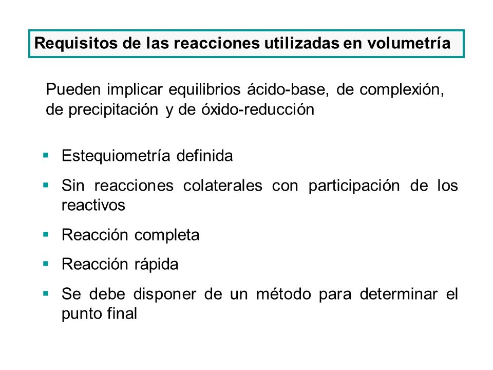 Requisitos de las reacciones utilizadas en volumetría