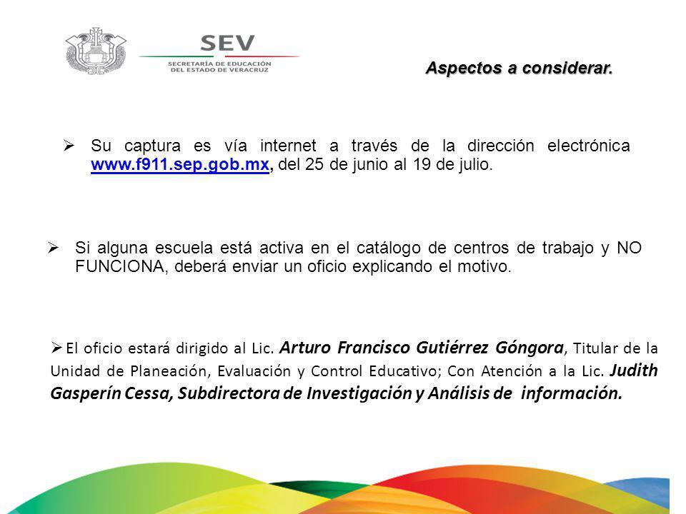 Aspectos a considerar. Su captura es vía internet a través de la dirección electrónica www.f911.sep.gob.mx, del 25 de junio al 19 de julio.