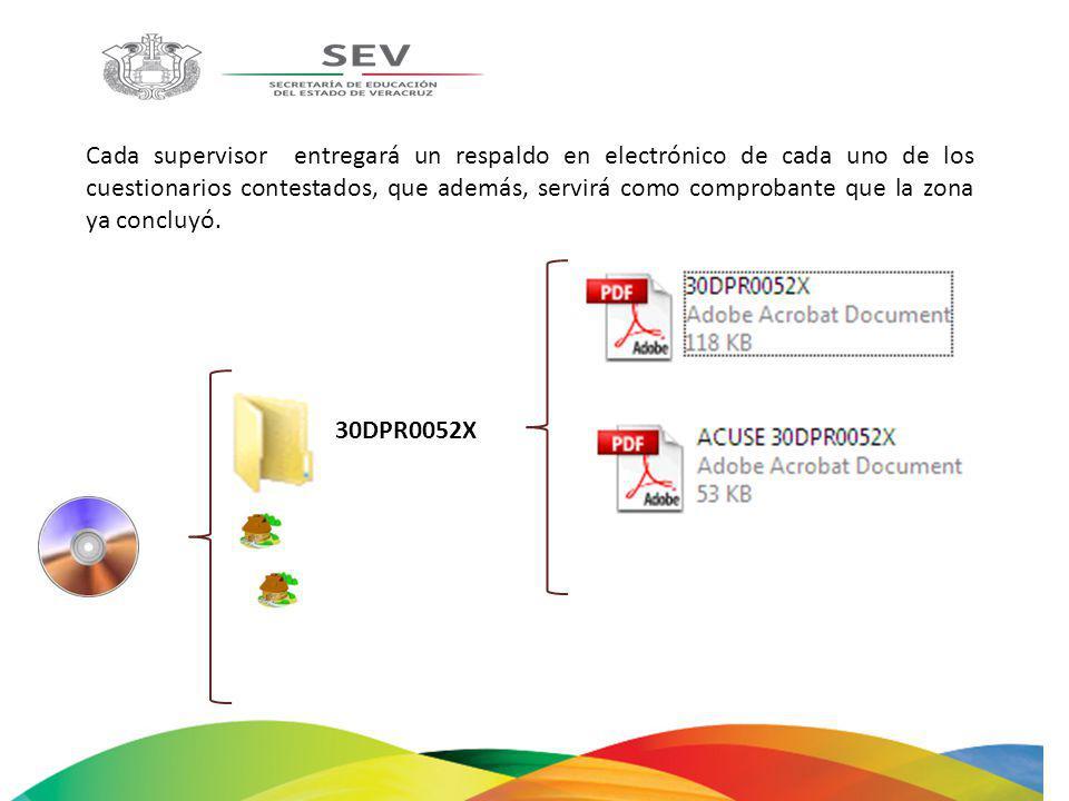 Cada supervisor entregará un respaldo en electrónico de cada uno de los cuestionarios contestados, que además, servirá como comprobante que la zona ya concluyó.
