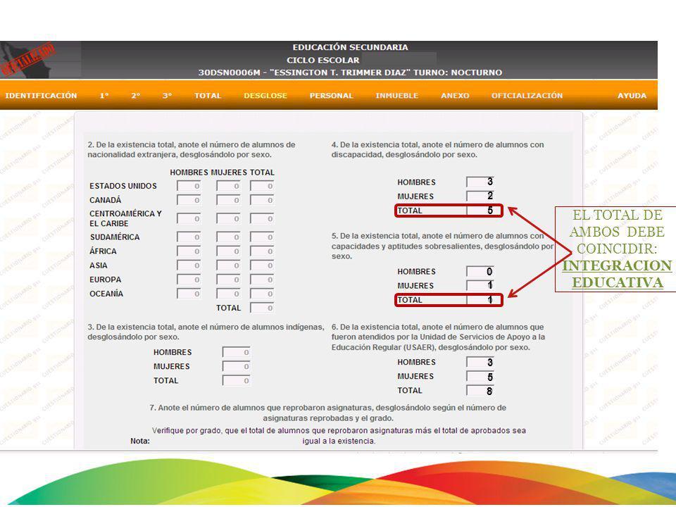 EL TOTAL DE AMBOS DEBE COINCIDIR: INTEGRACION EDUCATIVA