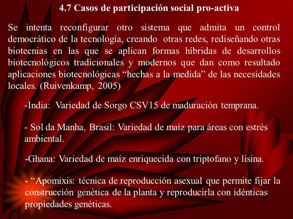4.7 Casos de participación social pro-activa