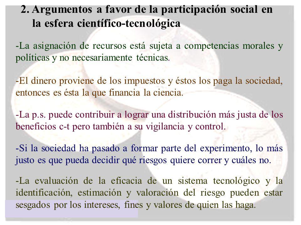 2. Argumentos a favor de la participación social en