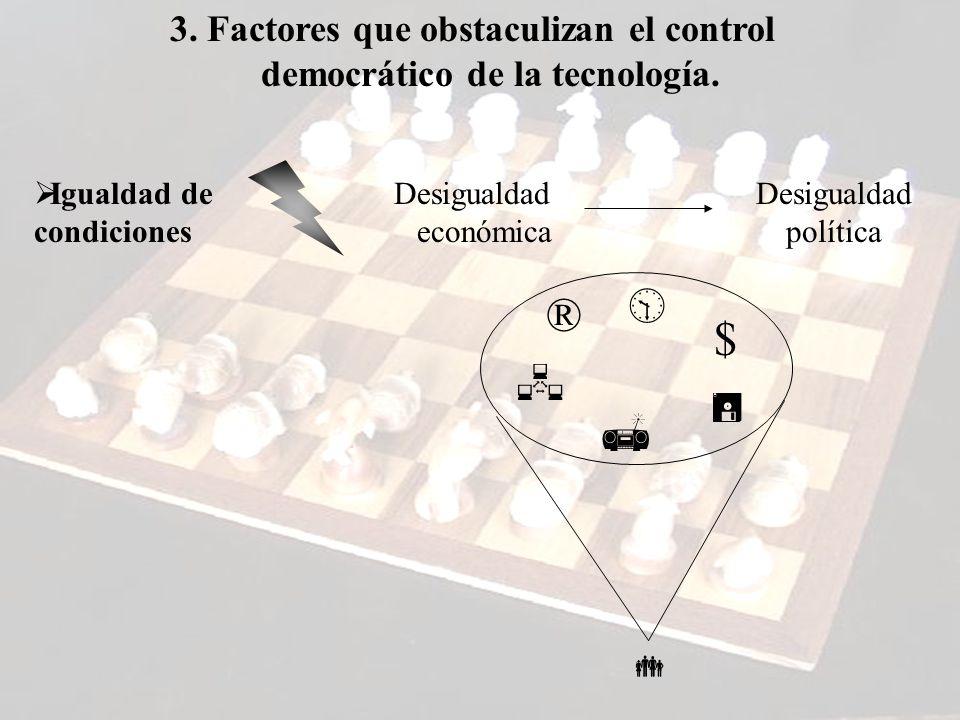 3. Factores que obstaculizan el control democrático de la tecnología.