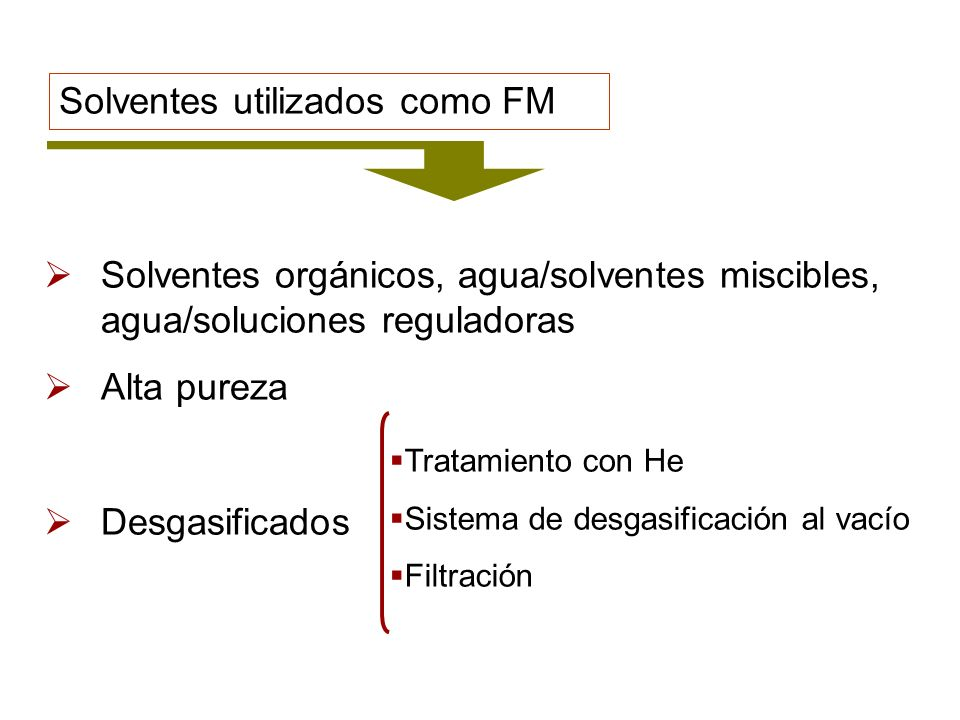 Solventes utilizados como FM