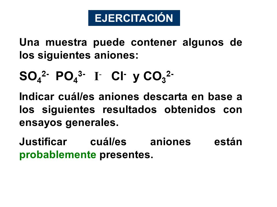 SO42- PO43- I- Cl- y CO32- EJERCITACIÓN