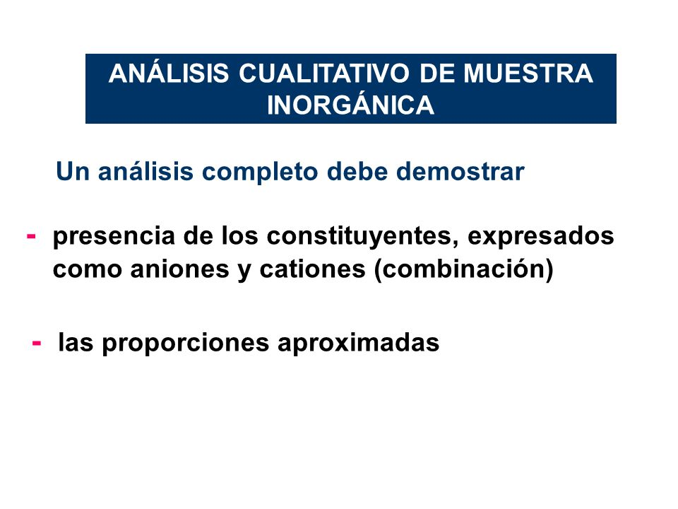 ANÁLISIS CUALITATIVO DE MUESTRA INORGÁNICA
