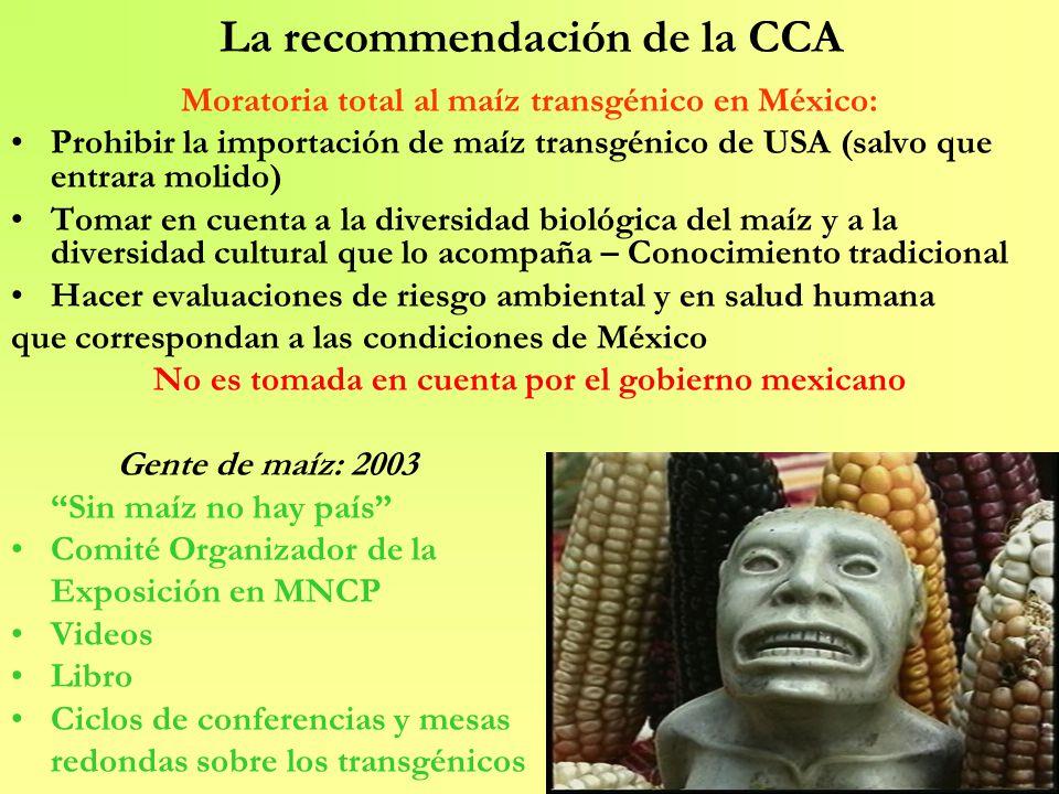 La recommendación de la CCA