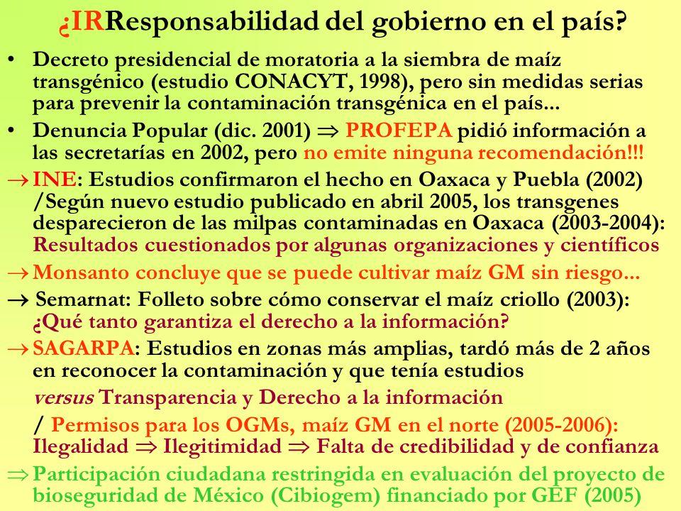 ¿IRResponsabilidad del gobierno en el país