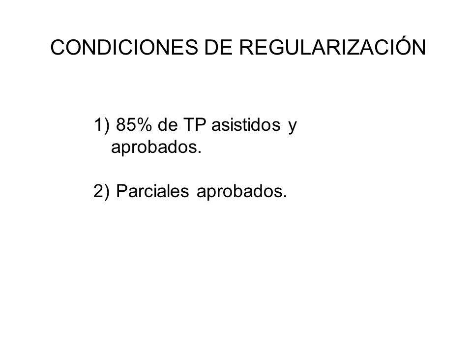 CONDICIONES DE REGULARIZACIÓN