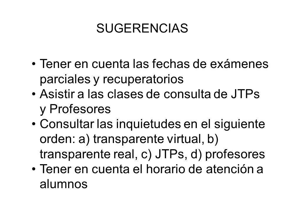 SUGERENCIAS Tener en cuenta las fechas de exámenes parciales y recuperatorios. Asistir a las clases de consulta de JTPs y Profesores.