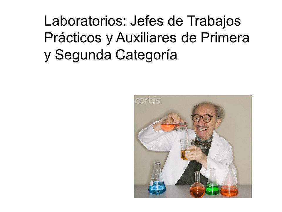 Laboratorios: Jefes de Trabajos Prácticos y Auxiliares de Primera y Segunda Categoría