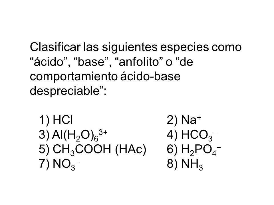 Clasificar las siguientes especies como ácido , base , anfolito o de comportamiento ácido-base despreciable :