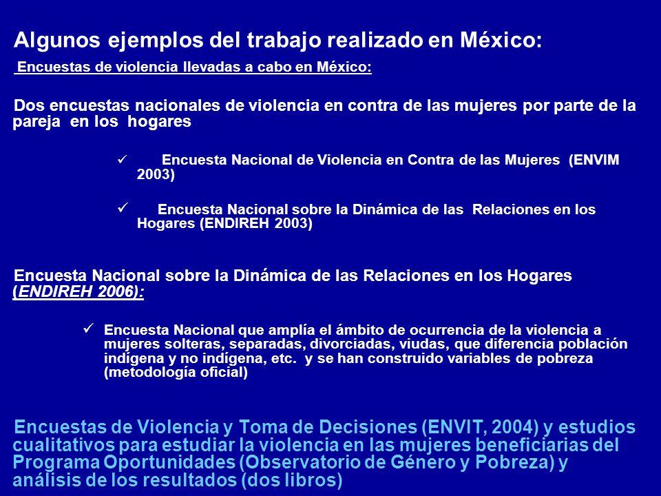 Algunos ejemplos del trabajo realizado en México: