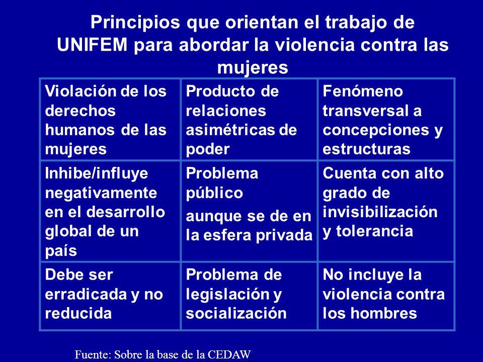 Principios que orientan el trabajo de UNIFEM para abordar la violencia contra las mujeres