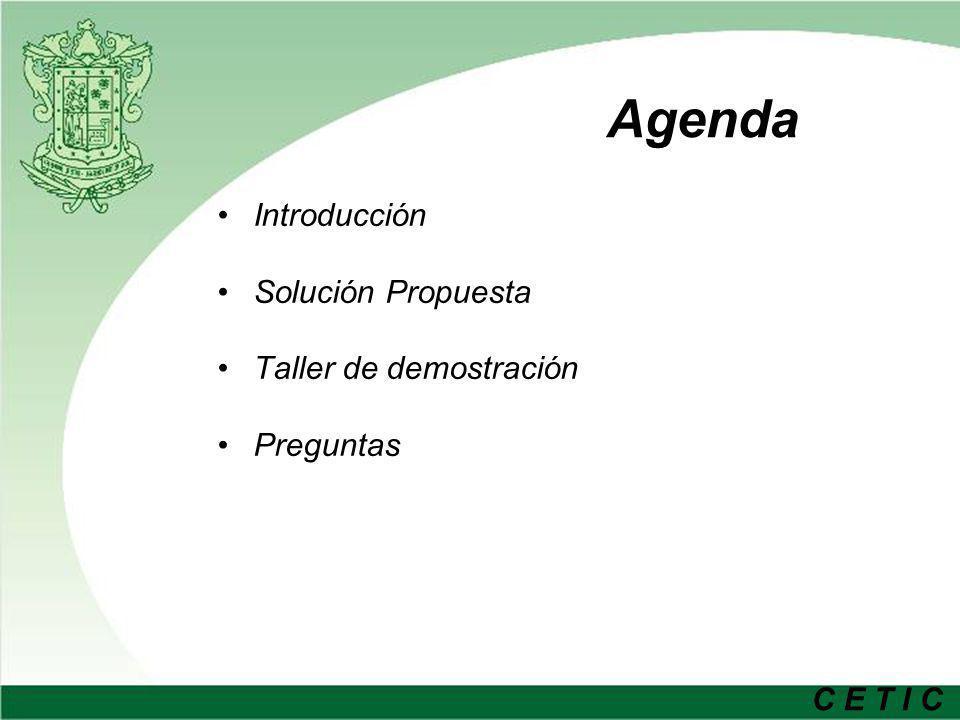 Agenda Introducción Solución Propuesta Taller de demostración