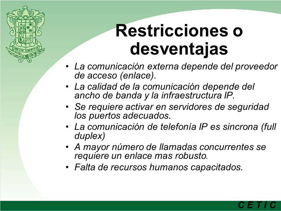 Restricciones o desventajas