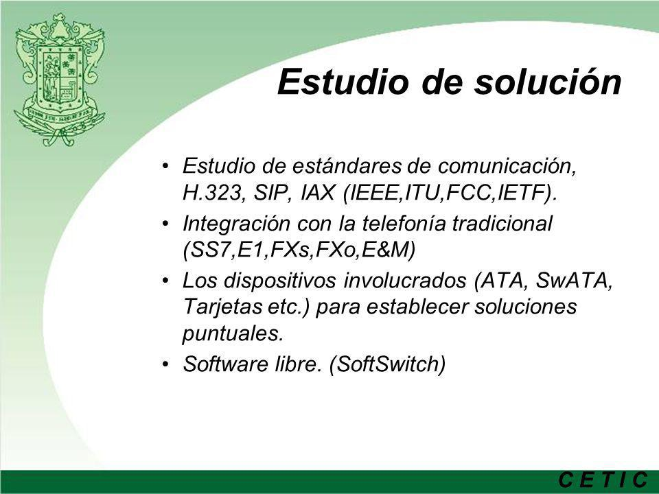 Estudio de solución Estudio de estándares de comunicación, H.323, SIP, IAX (IEEE,ITU,FCC,IETF).