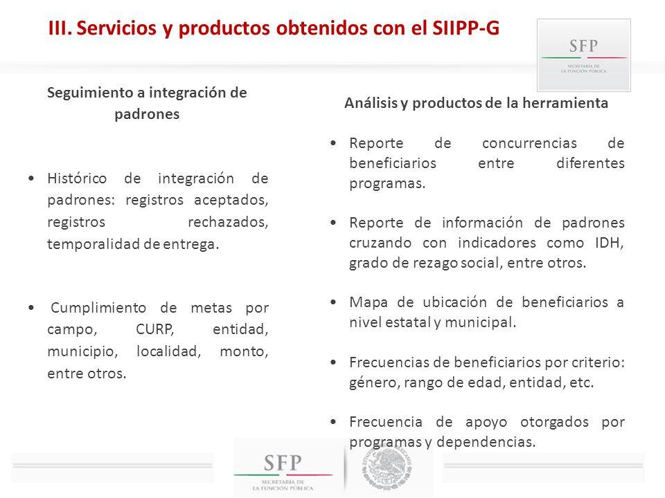 III. Servicios y productos obtenidos con el SIIPP-G