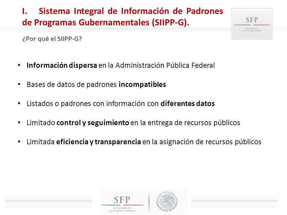 Sistema Integral de Información de Padrones de Programas Gubernamentales (SIIPP-G).