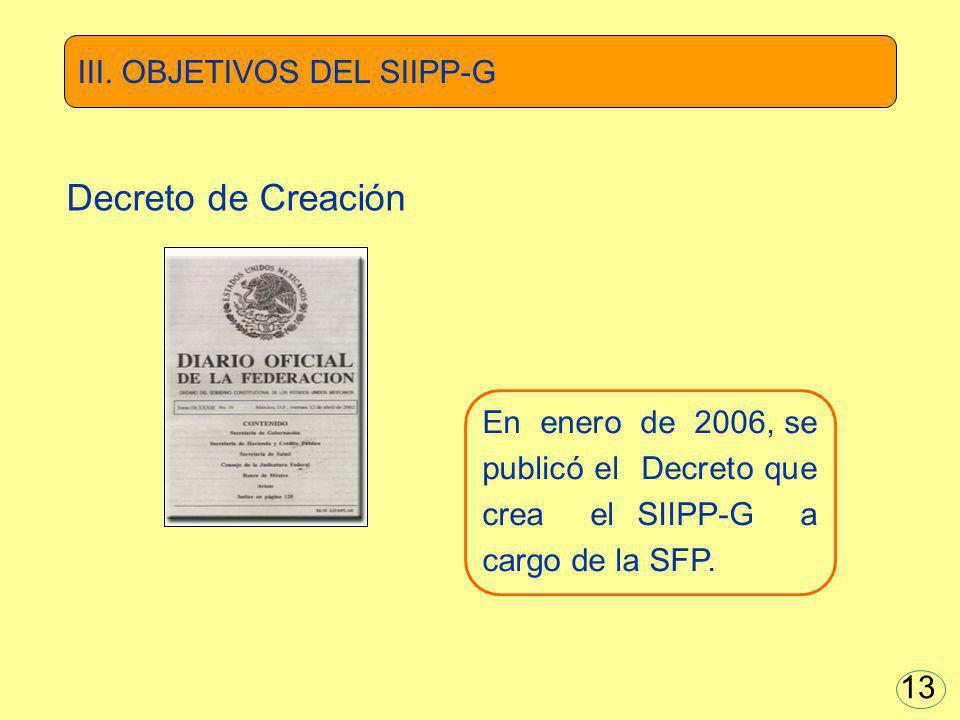 Decreto de Creación III. OBJETIVOS DEL SIIPP-G