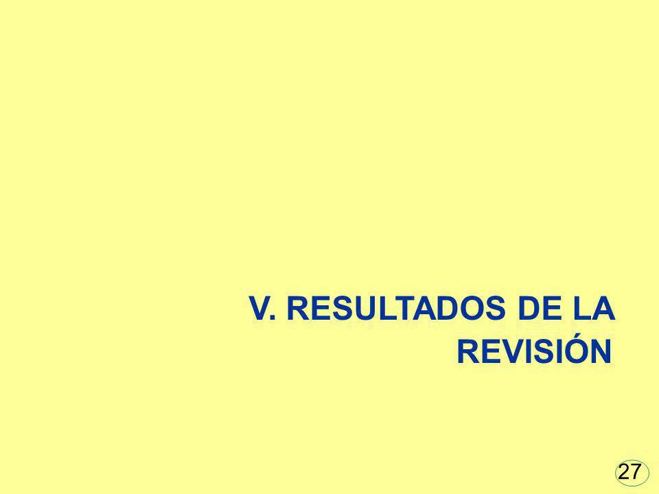 V. RESULTADOS DE LA REVISIÓN