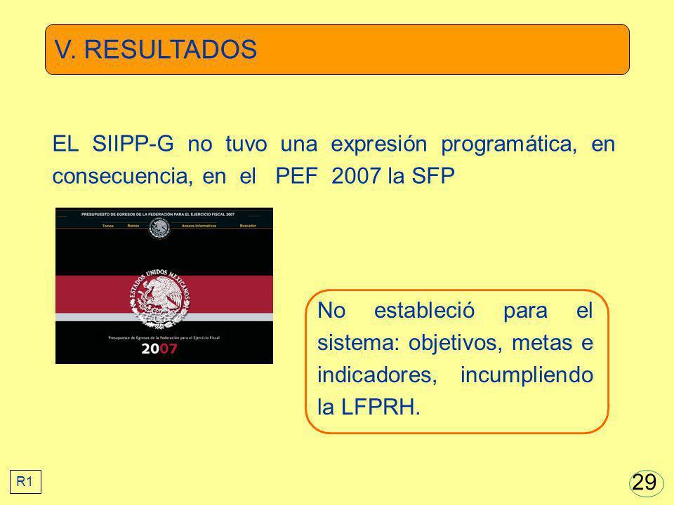 V. RESULTADOS EL SIIPP-G no tuvo una expresión programática, en consecuencia, en el PEF 2007 la SFP.