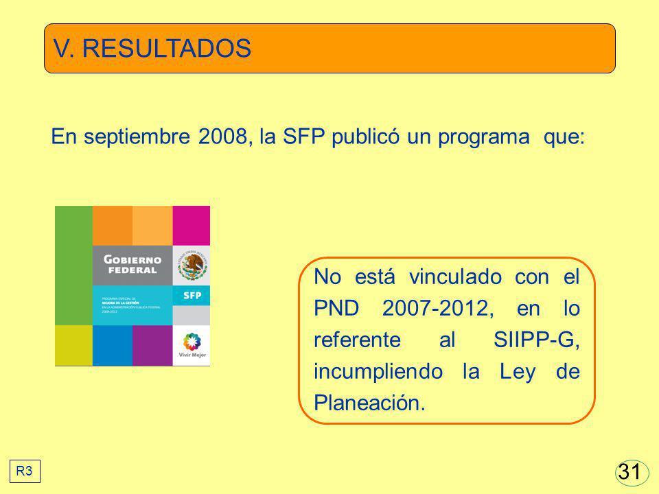 V. RESULTADOS En septiembre 2008, la SFP publicó un programa que: