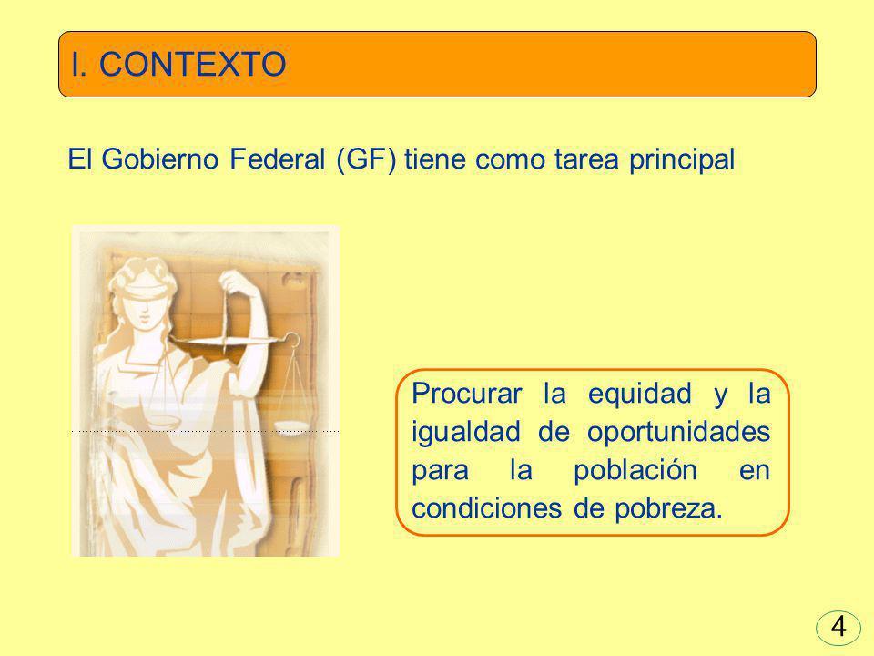 I. CONTEXTO El Gobierno Federal (GF) tiene como tarea principal