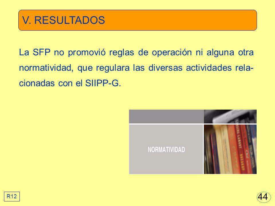 V. RESULTADOS La SFP no promovió reglas de operación ni alguna otra normatividad, que regulara las diversas actividades rela-cionadas con el SIIPP-G.