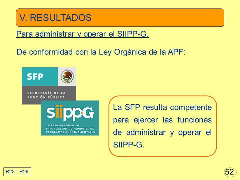 V. RESULTADOS Para administrar y operar el SIIPP-G.