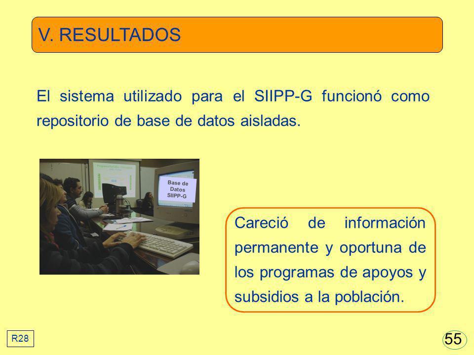 V. RESULTADOS El sistema utilizado para el SIIPP-G funcionó como repositorio de base de datos aisladas.