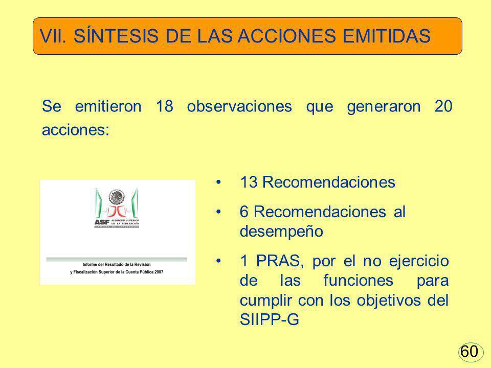 VII. SÍNTESIS DE LAS ACCIONES EMITIDAS