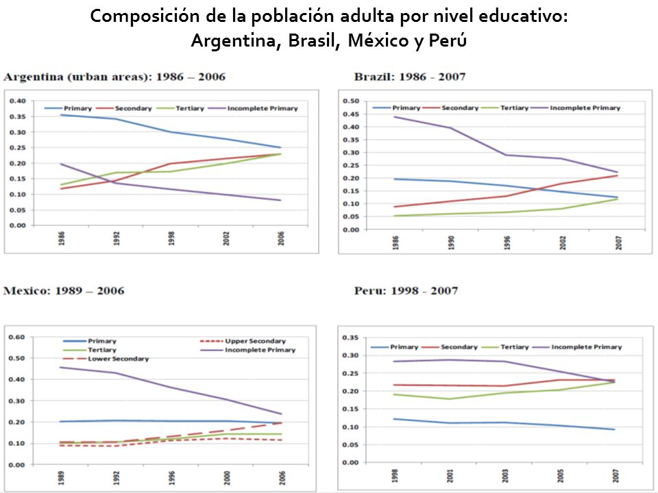 Composición de la población adulta por nivel educativo: