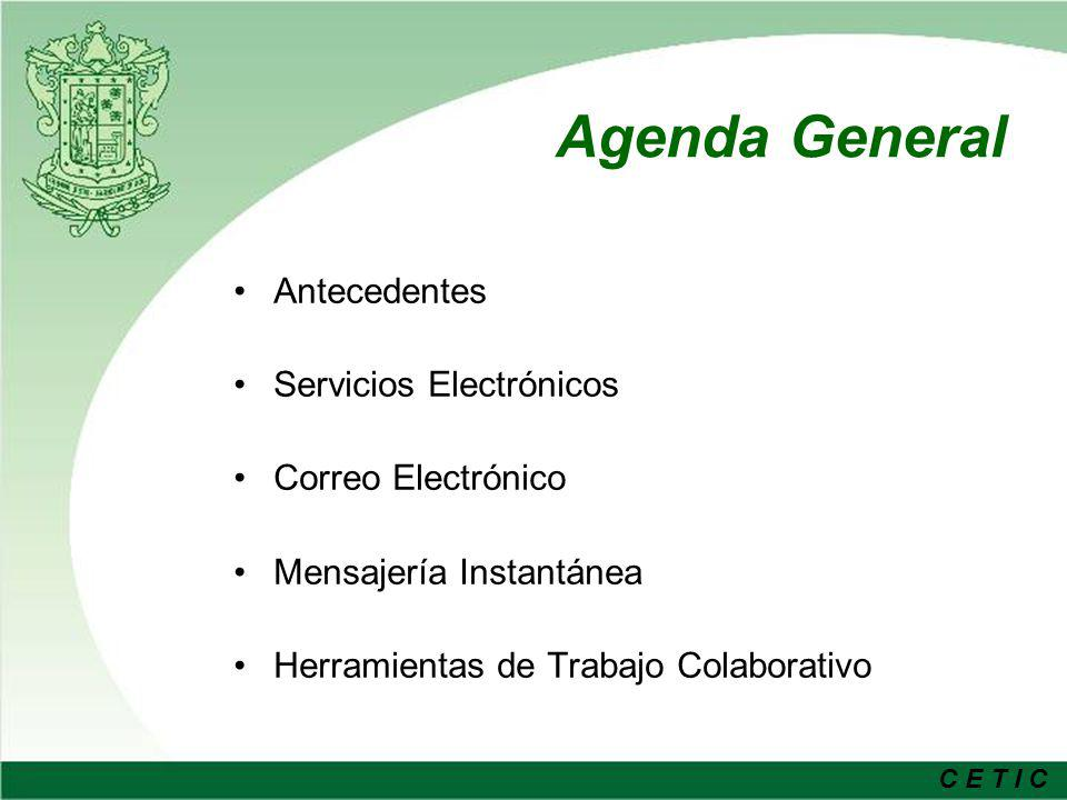 Agenda General Antecedentes Servicios Electrónicos Correo Electrónico