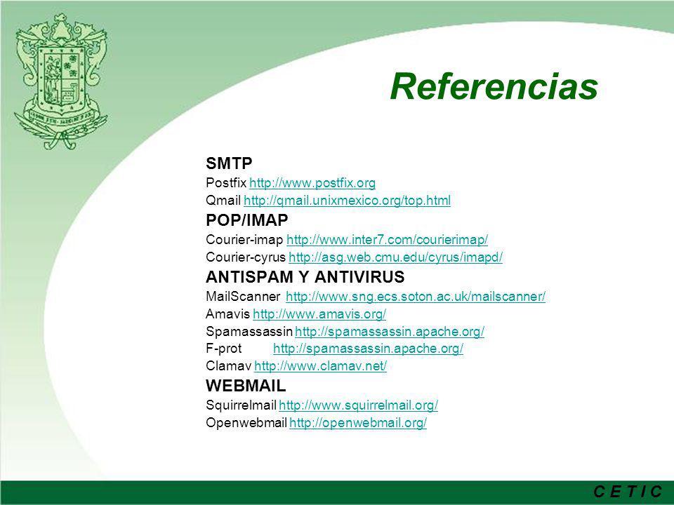 Referencias SMTP POP/IMAP ANTISPAM Y ANTIVIRUS WEBMAIL