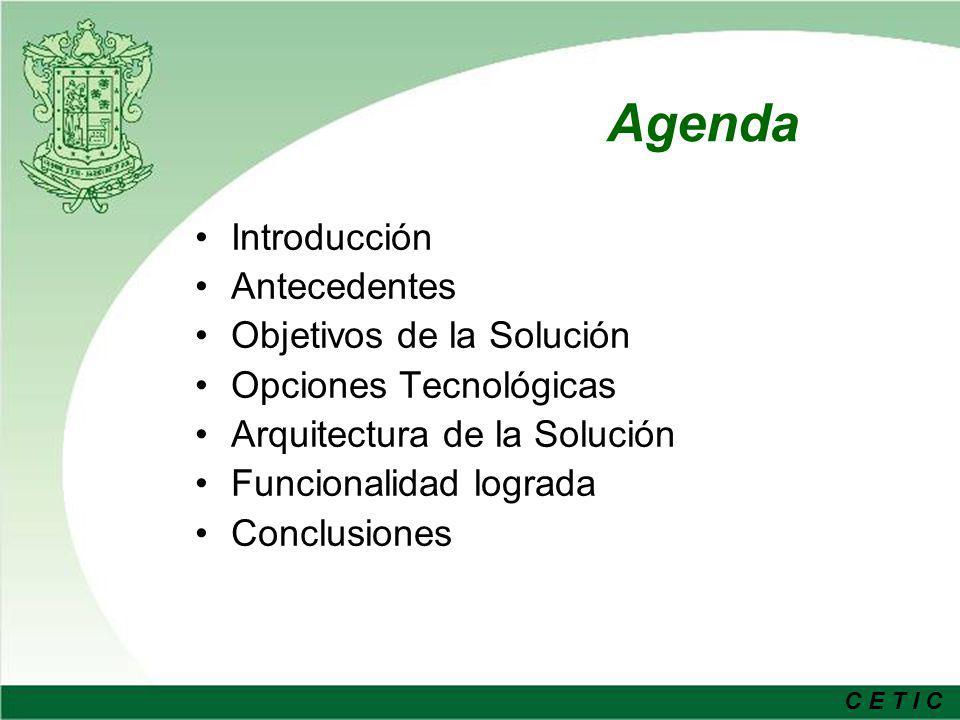 Agenda Introducción Antecedentes Objetivos de la Solución