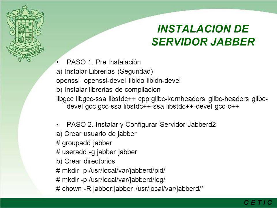 INSTALACION DE SERVIDOR JABBER