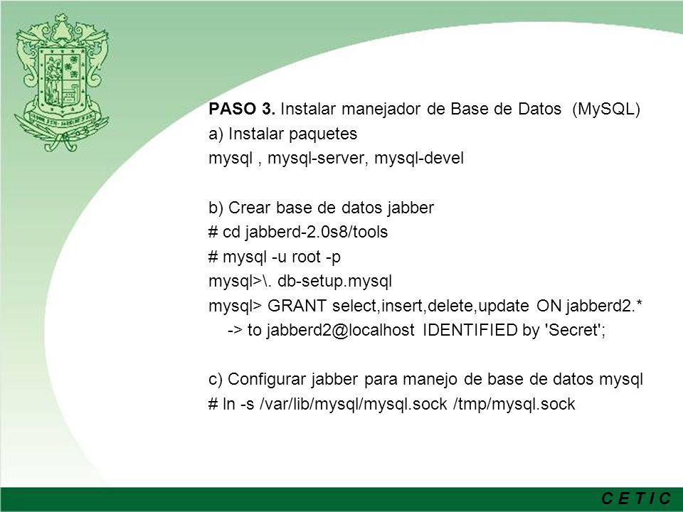 PASO 3. Instalar manejador de Base de Datos (MySQL)