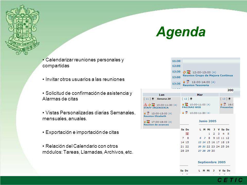 Agenda Calendarizar reuniones personales y compartidas
