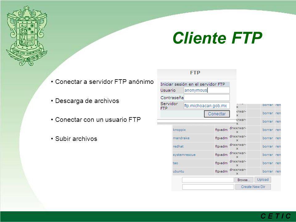 Cliente FTP Conectar a servidor FTP anónimo Descarga de archivos