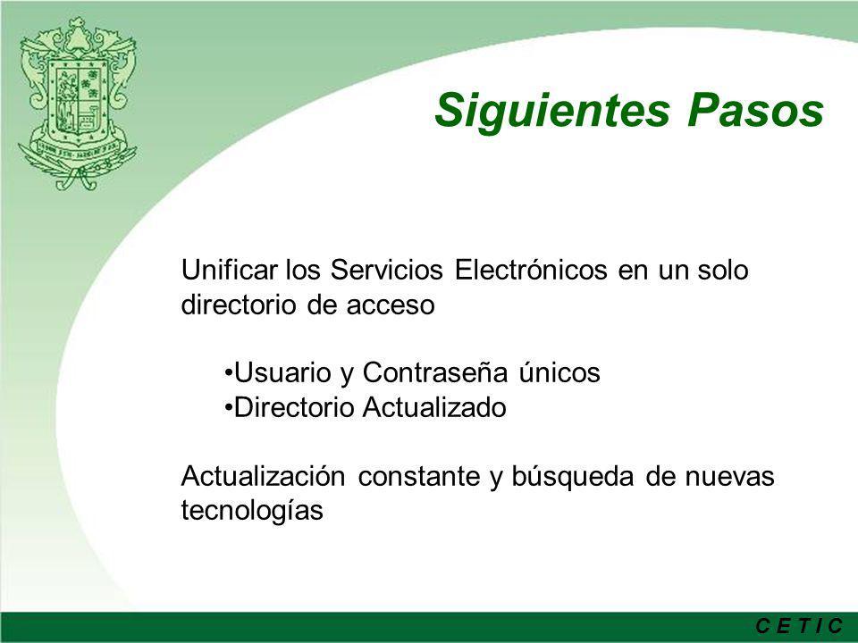 Siguientes Pasos Unificar los Servicios Electrónicos en un solo directorio de acceso. Usuario y Contraseña únicos.