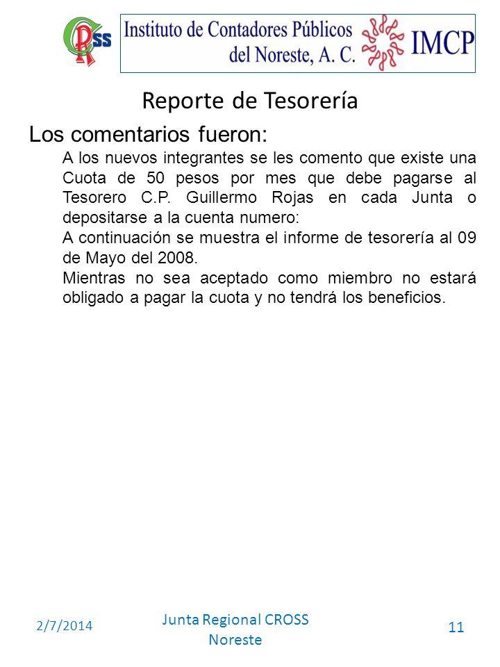 Reporte de Tesorería Los comentarios fueron: