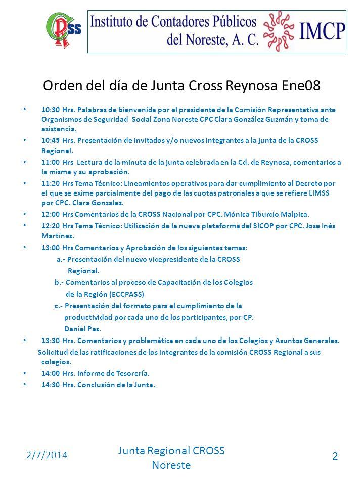 Orden del día de Junta Cross Reynosa Ene08