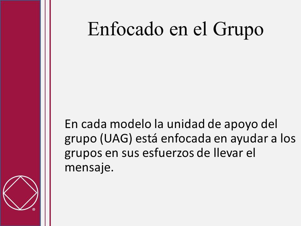 Enfocado en el Grupo En cada modelo la unidad de apoyo del grupo (UAG) está enfocada en ayudar a los grupos en sus esfuerzos de llevar el mensaje.