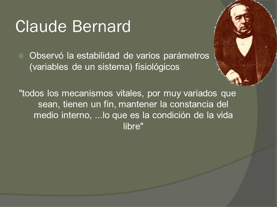 Claude Bernard Observó la estabilidad de varios parámetros (variables de un sistema) fisiológicos.