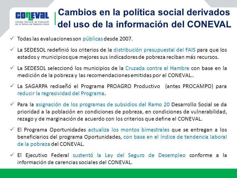 Cambios en la política social derivados del uso de la información del CONEVAL
