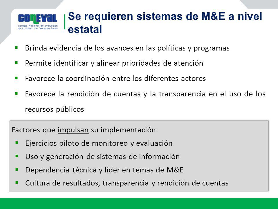 Se requieren sistemas de M&E a nivel estatal
