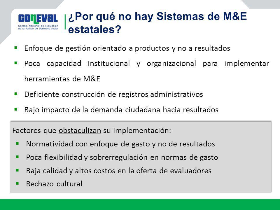 ¿Por qué no hay Sistemas de M&E estatales